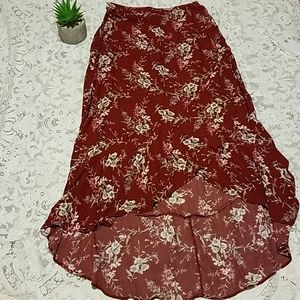 American Eagle Burgandy Floral High Low Skirt L